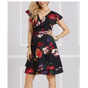 Suzanne Betro Floral Ruffle Collar Surplice Dress